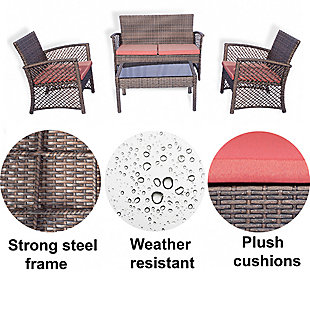 Westin 4-Piece Woven Rattan Wicker Sofa Set, , large