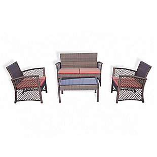 Chase 4-Piece Outdoor Woven Rattan Wicker Sofa Set, Orange, large