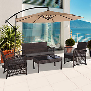 Chase 4-Piece Outdoor Woven Rattan Wicker Sofa Set, Black/Gray, rollover