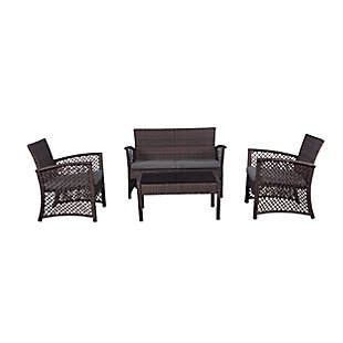 Chase 4-Piece Outdoor Woven Rattan Wicker Sofa Set, Gray, large