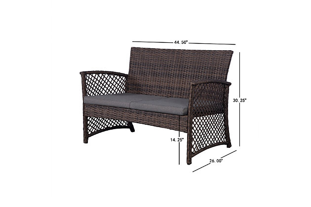 Chase 4-Piece Outdoor Woven Rattan Wicker Sofa Set, Black/Gray, large