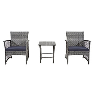 Palmer 3-Piece Outdoor Woven Rattan Wicker Seating Set, Navy, large
