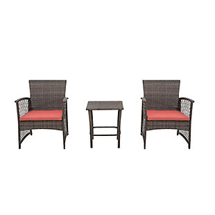 Palmer 3-Piece Outdoor Woven Rattan Wicker Seating Set, Orange, large