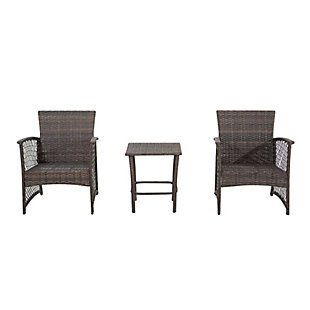 Palmer 3-Piece Outdoor Woven Rattan Wicker Seating Set, Gray, large