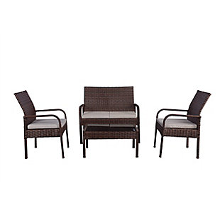 Ellis 4-Piece Outdoor Rattan Wicker Modern Sofa Set, Beige, large
