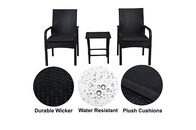 Orson 3-Piece Outdoor Rattan Wicker Modern Seating Set, Gray, large