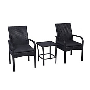 Orson 3-Piece Outdoor Rattan Wicker Modern Seating Set, Gray, rollover