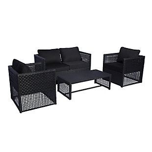 Leif 4-Piece Outdoor Woven Rattan Wicker Sofa Set with Cushion, Black, large