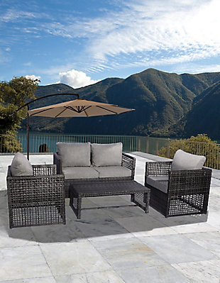Leif 4-Piece Outdoor Woven Rattan Wicker Sofa Set with Cushion, Gray, rollover