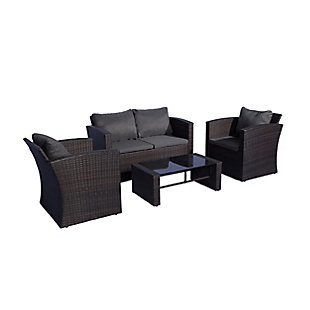 Westin 4-Piece Conversation Sofa Set with Cushions, Brown/Gray, large