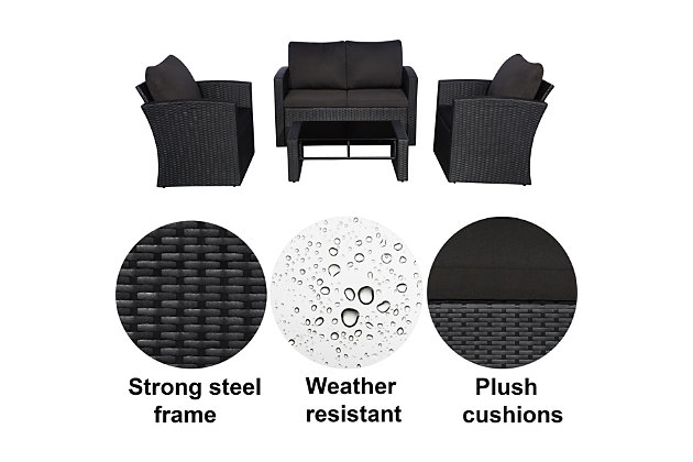 Westin 4-Piece Conversation Sofa Set with Cushions, , large