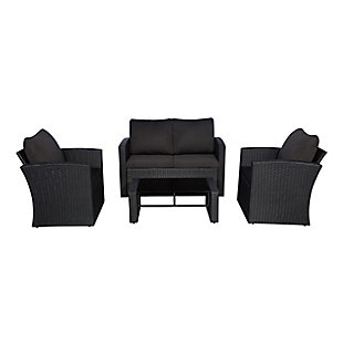 Benton 4-Piece Outdoor Conversation Sofa Set with Cushions, Black, large