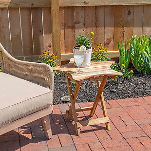 Powell Austin Natural Outdoor Folding Table, , rollover
