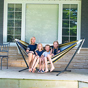 Outdoor Outdoor Double Cotton Hammock Serenity with 9 ft. Stand, , rollover