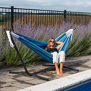 Outdoor Outdoor Double Cotton Hammock Island Breeze with 9 ft. Stand, , rollover