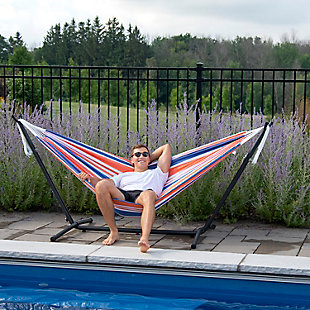 Outdoor Outdoor Double Cotton Hammock Orange Punch with 9 ft. Stand, , rollover