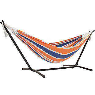 Outdoor Outdoor Double Cotton Hammock Orange Punch with 9 ft. Stand, , large