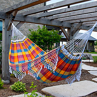 Outdoor Outdoor Authentic Brazilian Double Tropical Hammock Carnival, Yellow, rollover
