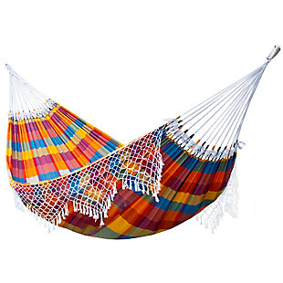 Outdoor Outdoor Authentic Brazilian Double Tropical Hammock Carnival, Yellow, large