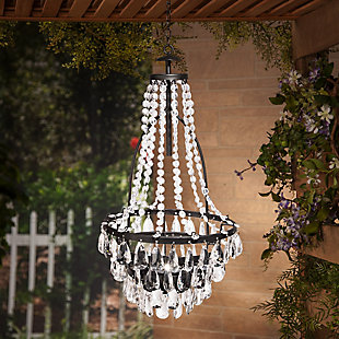 "Gerson International 33"" Outdoor Tall Hanging Metal and Acrylic Solar Garden Meadow® Chandelier, , rollover"