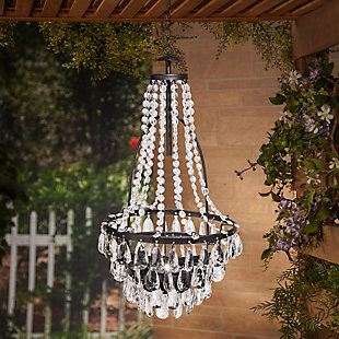 "Gerson International 33"" Outdoor Tall Hanging Metal and Acrylic Solar Garden Meadow® Chandelier, , large"