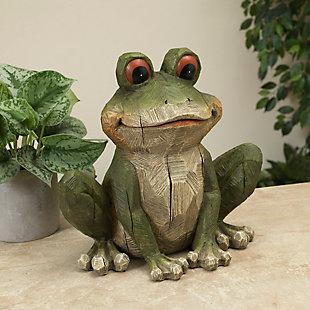 "Gerson International 12.8"" Outdoor Magnesium Garden Frog Figurine, , large"