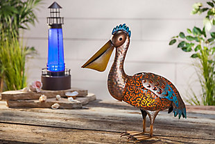 """Gerson International 21"""" Outdoor Solar Led Metal Lighthouse Outdoor Decor, Brown, rollover"""