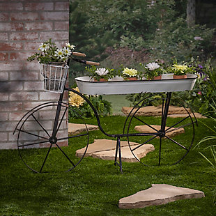 """Gerson International 46"""" Outdoor Long Metal Bicycle Plant Stand, , rollover"""