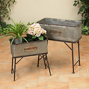 Gerson International Outdoor Oversized Galvanized Metal Plant Holders with Stands (Set of 2), , rollover