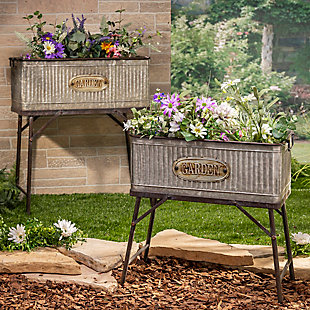 Gerson International Outdoor Oversized Galvanized Metal Plant Holders with Stands (Set of 2), , large