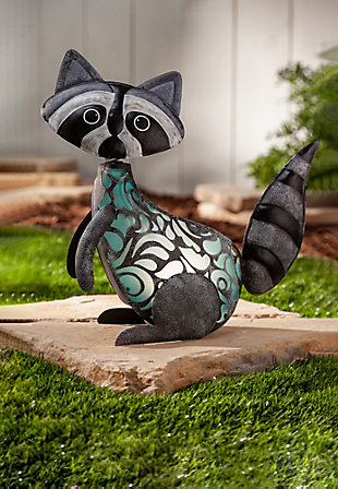 "Gerson International 15.35"" Outdoor Gray Wash Solar Lighted Garden Meadow Raccoon, , rollover"
