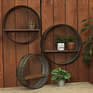 Gerson International Outdoor Assorted Sized Metal Circular Hanging Shelves, (Set of 3), , rollover