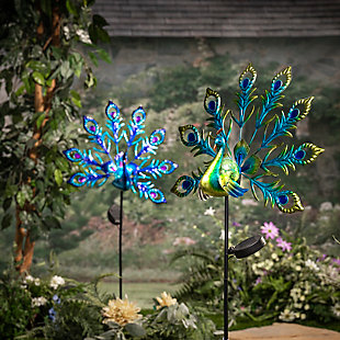 Gerson International Outdoor Assorted Metal and Glass Solar Peacock Yard Stakes (Set of 2), , rollover