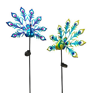 Gerson International Outdoor Assorted Metal and Glass Solar Peacock Yard Stakes (Set of 2), , large