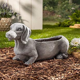 "Gerson International 22"" Outdoor Long Magnesium Dog Planter, , rollover"