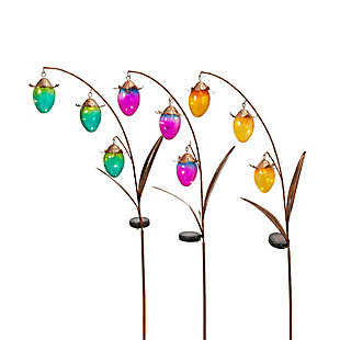 """Gerson International 48"""" Outdoor Assorted Solar-Powered Gold Metal Flower Yard Stakes with Glass Buds (Set of 3), , rollover"""