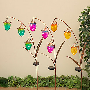"""Gerson International 48"""" Outdoor Assorted Solar-Powered Gold Metal Flower Yard Stakes with Glass Buds (Set of 3), , large"""