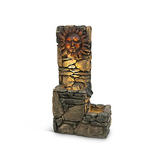 """Gerson International 36.5"""" Outdoor Electric Lighted Sun Face Water Fountain, , rollover"""