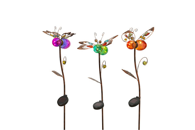 """Gerson International 42.9"""" Outdoor Solar Lighted Flower Yard Stakes (Set of 3), , large"""