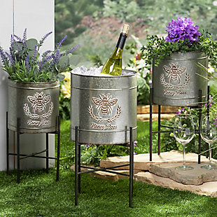 Gerson International Outdoor Galvanized Metal Round Planters with Stands, (Set of 3), , rollover