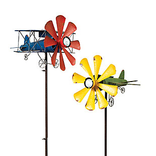 """Gerson International 63"""" Outdoor Solar Lighted Airplane Wind Spinner (Set of 2), , rollover"""