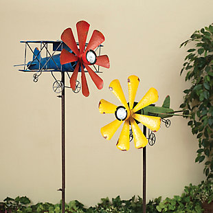 """Gerson International 63"""" Outdoor Solar Lighted Airplane Wind Spinner (Set of 2), , large"""