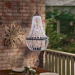 "Gerson International 23.2"" Outdoor Hanging Metal and Acrylic Solar Garden Meadow® Chandelier, , rollover"