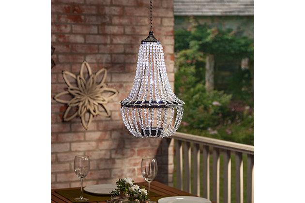 "Gerson International 23.2"" Outdoor Hanging Metal and Acrylic Solar Garden Meadow® Chandelier, , large"