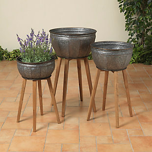Gerson International Outdoor Metal Galvanized Planters on Wooden Stands (Set of 3), , large