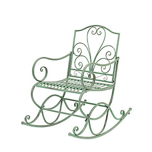 """Gerson International 35.8"""" Outdoor Antique-Style Metal Rocking Chair, , rollover"""