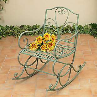 """Gerson International 35.8"""" Outdoor Antique-Style Metal Rocking Chair, , large"""