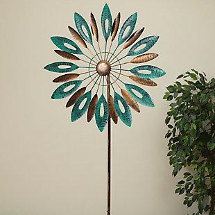 "Gerson International 72"" Outdoor Metal Leaf-motif Wind Spinner Yard Stake, , large"