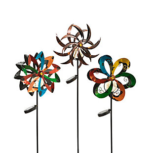 "Gerson International 49"" Outdoor Assorted Solar-Powered Metal Yard Stakes with Wind Spinners (Set of 3), , large"