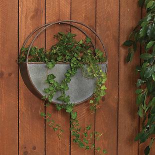 "Gerson International 18"" Outdoor Diameter Galvanized Metal Circular Wall Planter, , rollover"